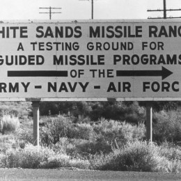 September 1963:  A sign indicating the direction of the White Sands Missile Range in Alamagordo, New Mexico.  (Photo by Keystone Features/Getty Images)